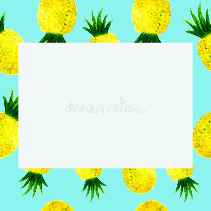 Cadre d'ananas d'aquarelle sur le bleu illustration stock