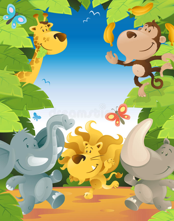 Cadre d'animaux de jungle d'amusement illustration libre de droits