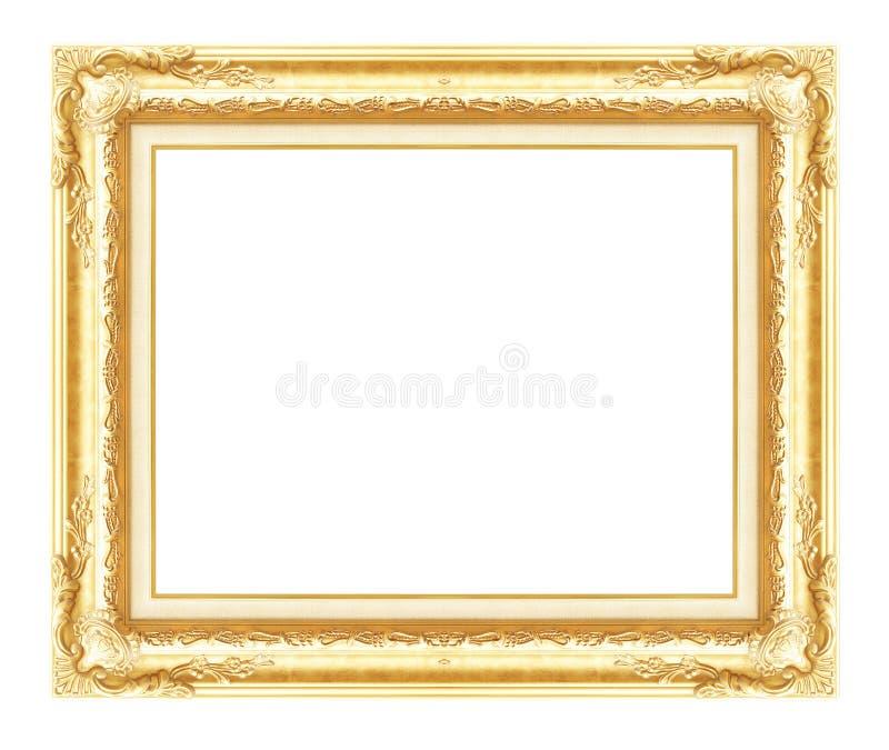 Cadre d'or antique d'isolement sur le fond blanc photos libres de droits