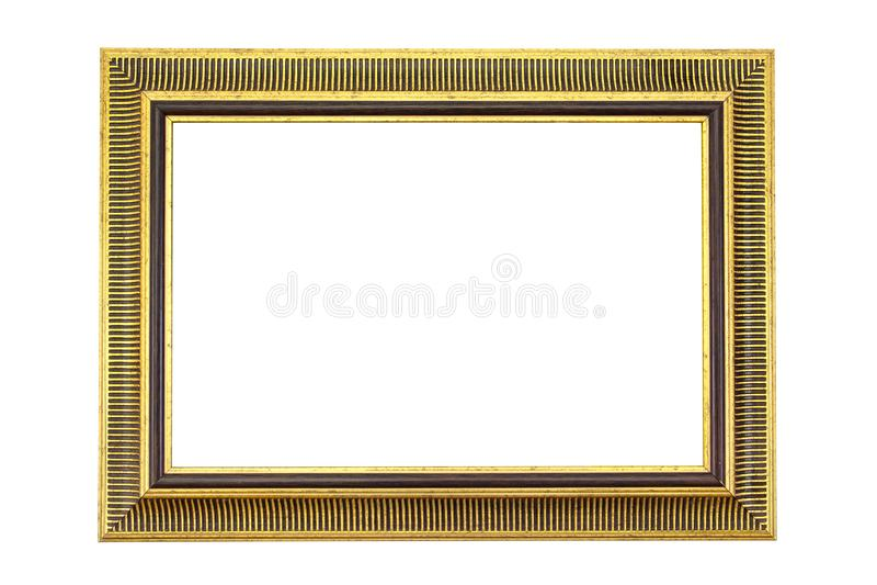 Cadre d'or antique d'isolement sur le fond blanc Trame d'or d'isolement Cadre d'or d'isolement Cadre d'or de rectangle d'isolemen photographie stock libre de droits