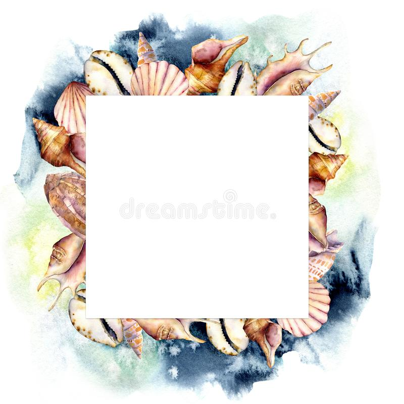 Cadre d'aquarelle avec de l'eau les coquilles et bleu-foncé La mer peinte à la main écosse la carte carrée d'isolement sur le fon illustration stock
