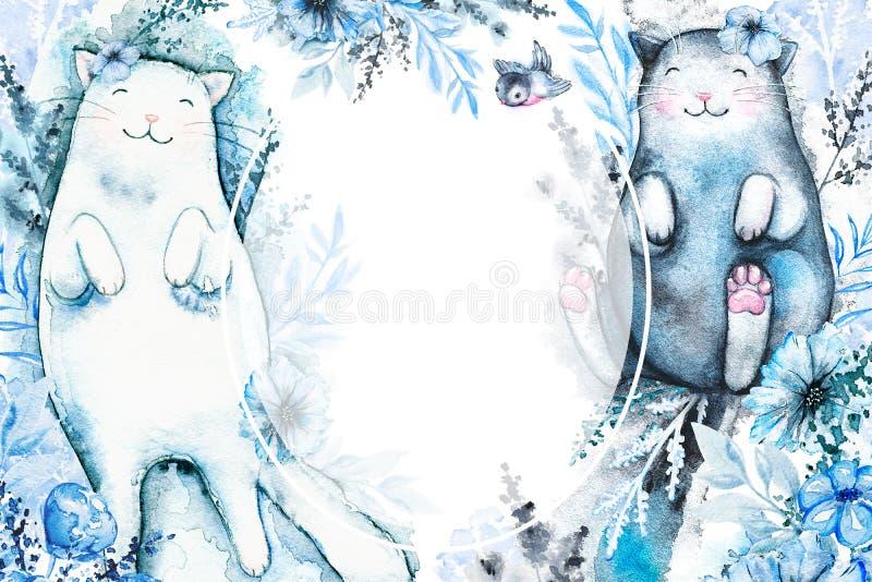Cadre d'aquarelle avec des chats et des fleurs illustration libre de droits