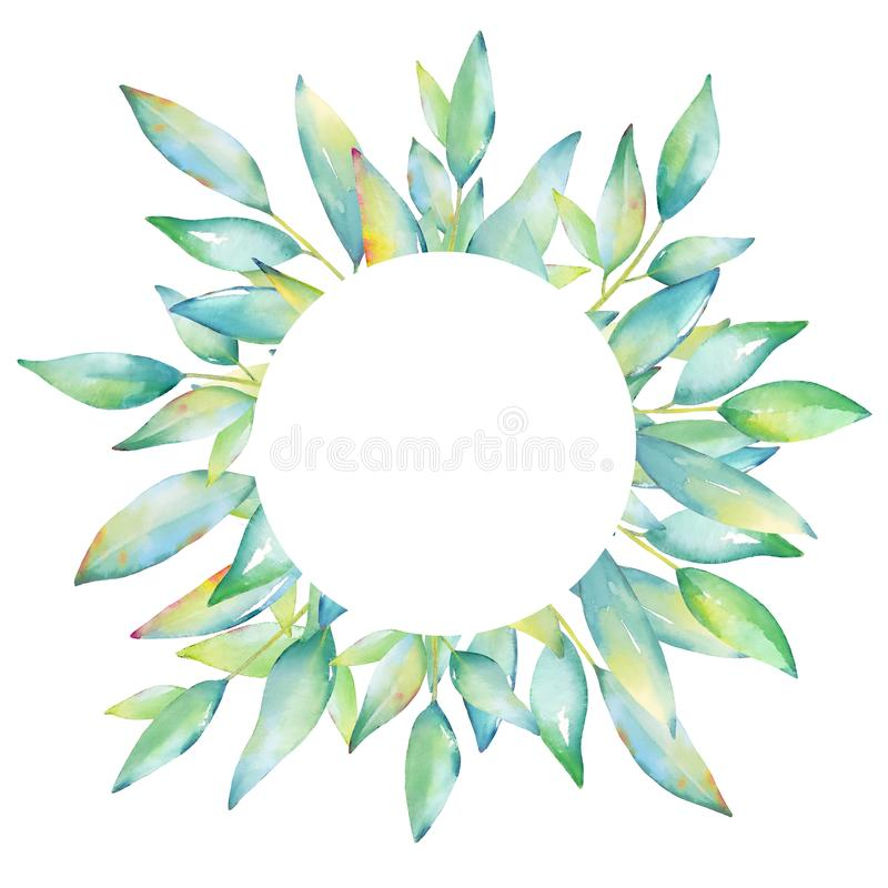 Cadre d'aquarelle avec des feuilles et des branches de vert illustration libre de droits