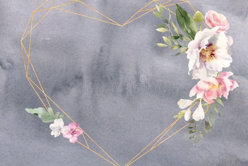 Cadre d'aquarelle avec des freesias de roses et des éléments d'or image stock