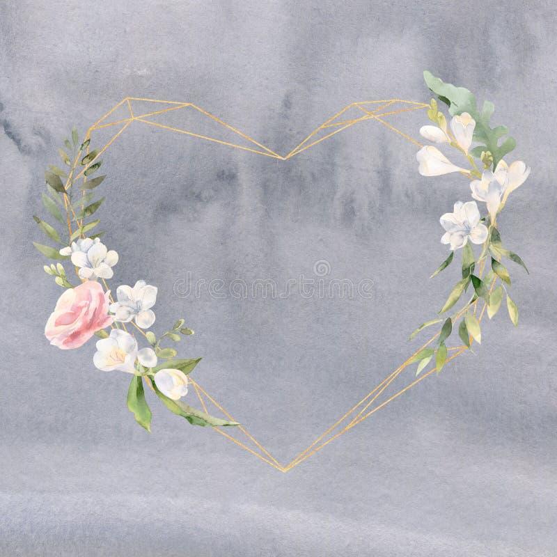 Cadre d'aquarelle avec des freesias de roses et des éléments d'or illustration de vecteur