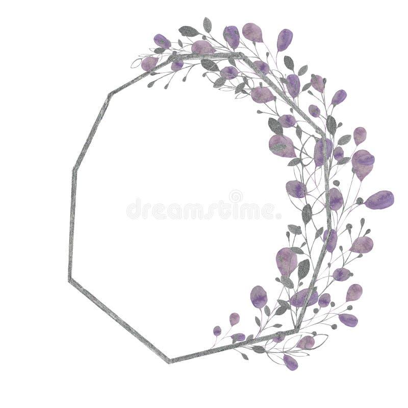Cadre d'aquarelle avec les feuilles et les branches argentées, vertes, pourpres, violettes sur un fond blanc Idéal pour des carte illustration de vecteur