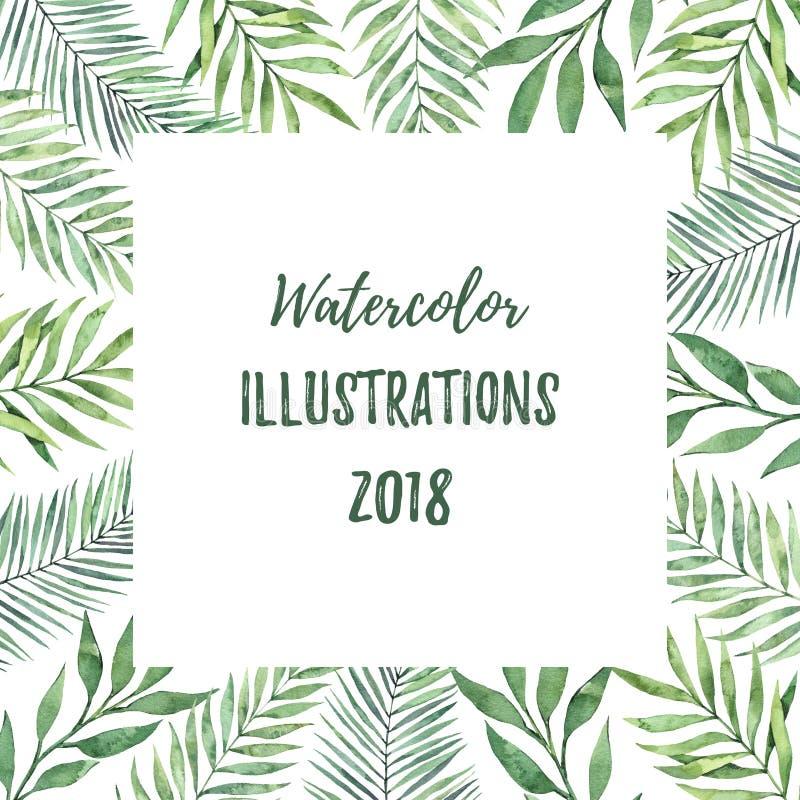 Cadre d'aquarelle avec les feuilles vertes Eleme tropical de conception d'été illustration stock