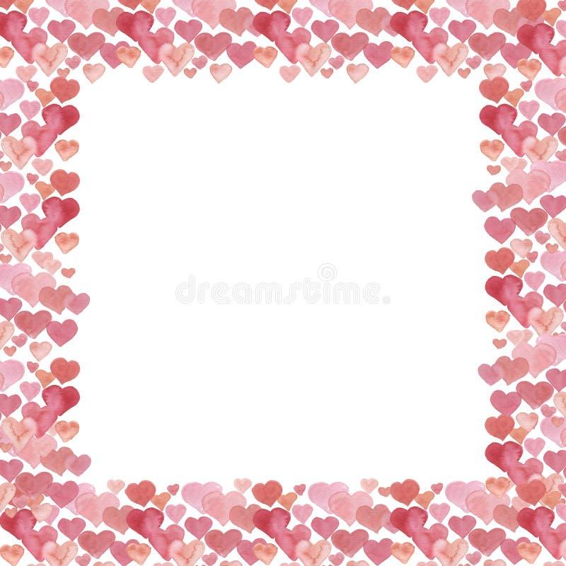 Cadre d'aquarelle de coeurs Fond de jour du ` s de Valentine d'aquarelle illustration libre de droits