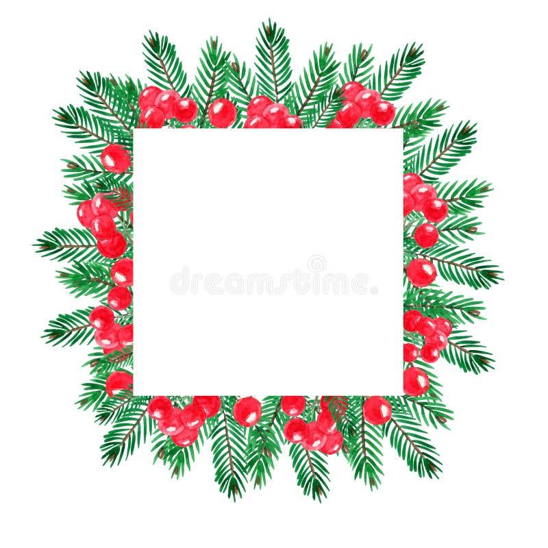Cadre d'aquarelle de Noël avec les branches vertes de douleur et les baies rouges illustration libre de droits