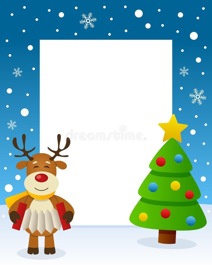 Cadre d'arbre de Noël - renne heureux illustration de vecteur