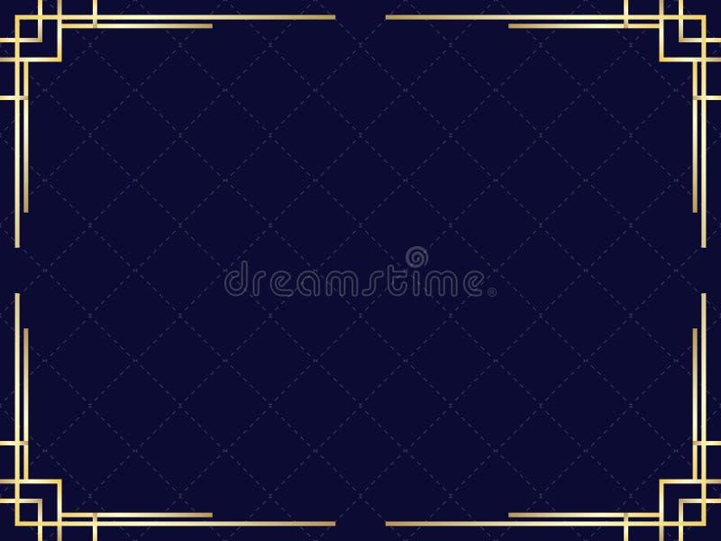 Cadre d'art d?co avec le gradient d'or Fronti?re lin?aire de vintage Concevez un calibre pour des invitations, des tracts et des  illustration libre de droits