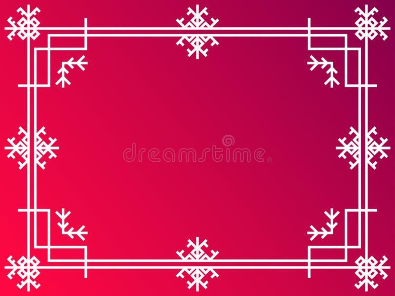 Cadre d'art déco de Noël Frontière linéaire de cru avec des flocons de neige Concevez un calibre pour des invitations, des tracts illustration libre de droits