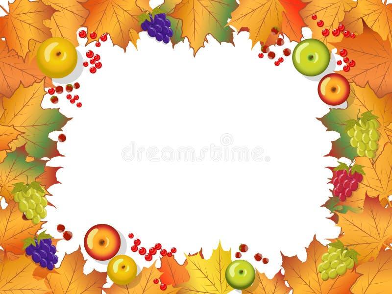 Cadre d'automne Sur fond de bois Feuilles d'érable, pommes, baies, noisettes et raisins illustration libre de droits