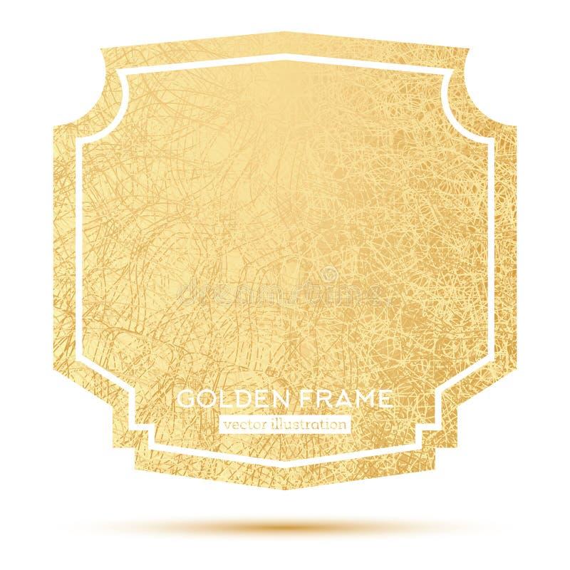 Cadre d'or avec l'espace de copie d'isolement sur le fond blanc illustration de vecteur