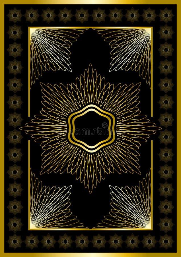 Cadre d'or avec l'ornement calligraphique. illustration stock