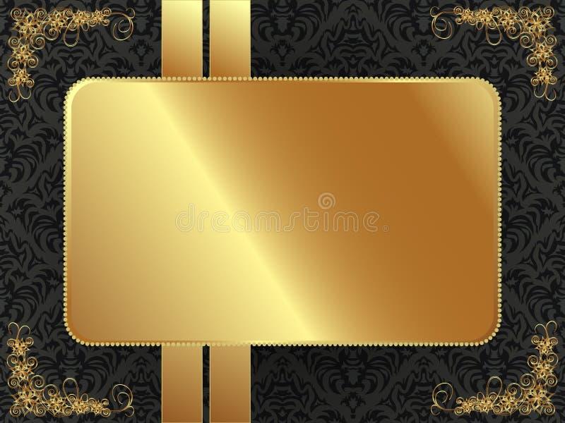Cadre d'or avec le modèle illustration de vecteur