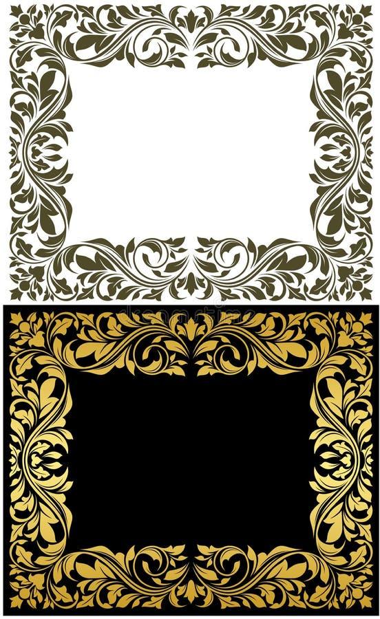 Cadre d'or avec floral décoratif illustration stock