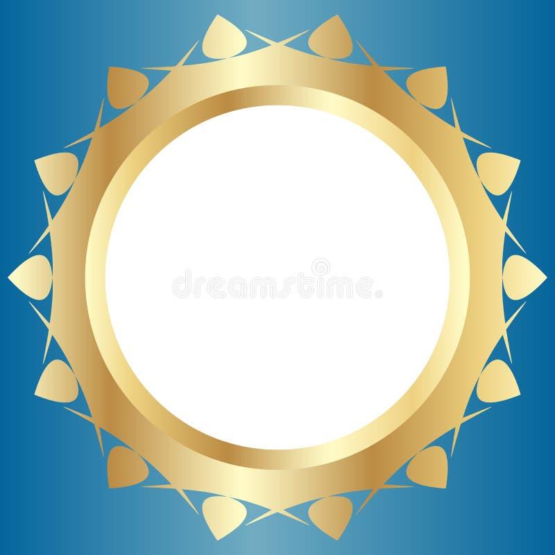 Cadre d'or décoratif avec la conception florale abstraite sur un fond bleu-clair Composition ronde en modèle illustration stock