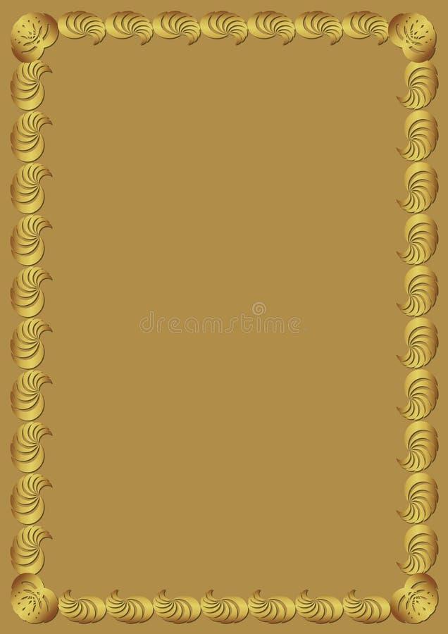 Cadre d'or décoratif sur le fond d'or Frontière avec l'effet de relief Calibre luxueux élégant pour un certificat illustration libre de droits