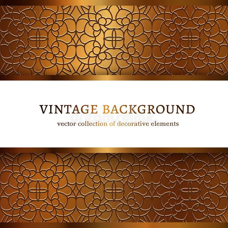 Cadre d'or de vintage avec les frontières ornementales illustration de vecteur