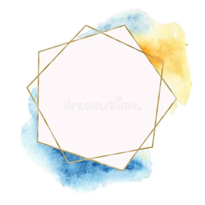 Cadre d'or géométrique avec les taches et les gemmes bleues d'aquarelle illustration de vecteur