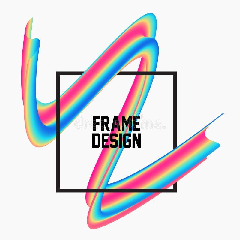 Cadre 3d géométrique liquide à la mode photos libres de droits