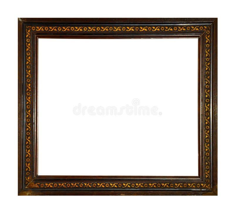 Cadre d'isolement de photo, cadre antique en bois de photo photos stock