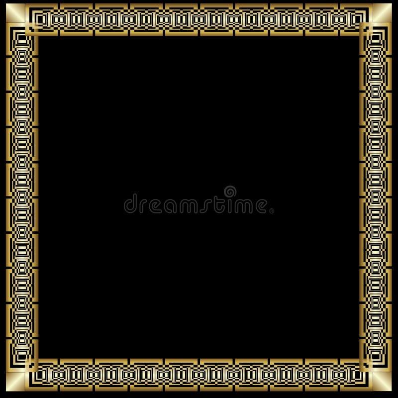 Cadre d'or luxueux décoratif dans le style d'art déco Sur le fond noir La frontière carrée avec 3d a gravé l'effet en refief élég illustration stock