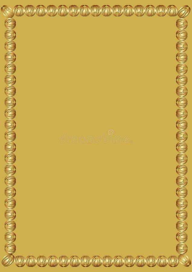 Cadre d'or luxueux décoratif sur le fond d'or La frontière avec 3d a gravé l'effet en refief Calibre élégant pour a illustration stock