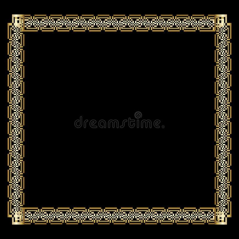 Cadre d'or luxueux fleuri dans le style d'art déco sur le fond noir Frontière carrée élégante avec l'effet de relief par 3d illustration de vecteur