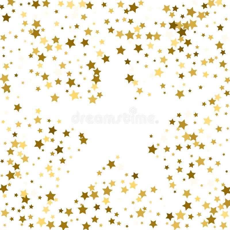 Cadre d'or ou frontière des étoiles d'or de dispersion aléatoire sur le CCB blanc illustration libre de droits