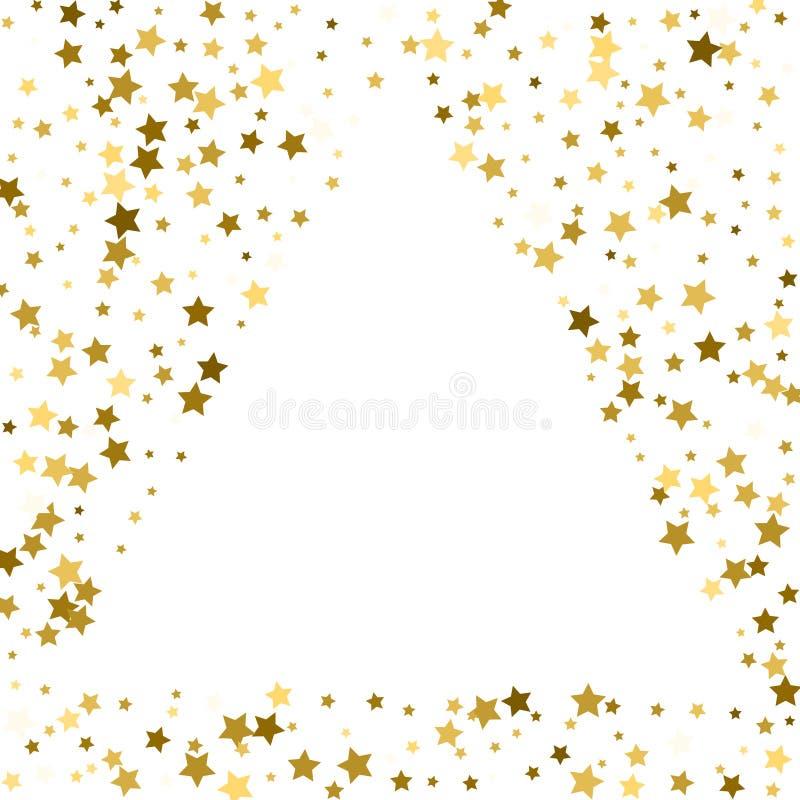 Cadre d'or ou frontière des étoiles d'or de dispersion aléatoire sur le CCB blanc illustration de vecteur