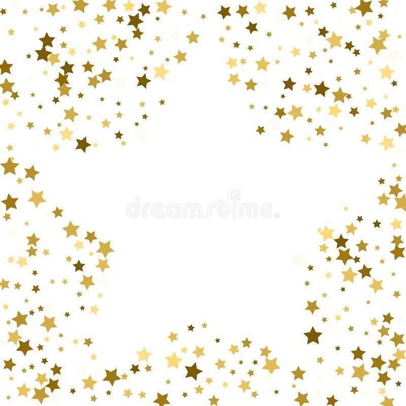 Cadre d'or ou frontière des étoiles d'or de dispersion aléatoire sur le CCB blanc illustration stock