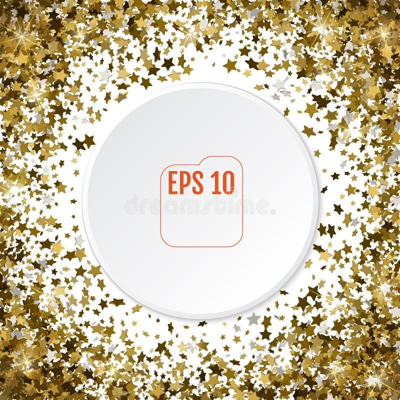 Cadre d'or ou frontière rond des étoiles d'or aléatoires de la dispersion 3d dessus illustration libre de droits