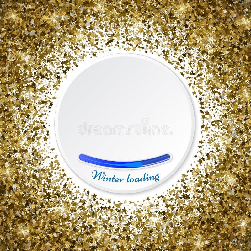 Cadre d'or ou frontière rond des étoiles d'or de dispersion aléatoire sur le whi illustration de vecteur