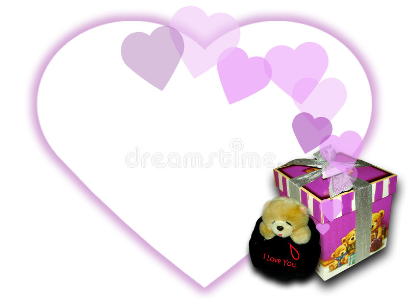 Cadre d'ours et de cadeau photo stock