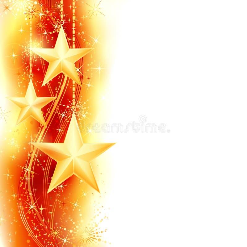 Cadre d'or rouge d'étoile illustration de vecteur