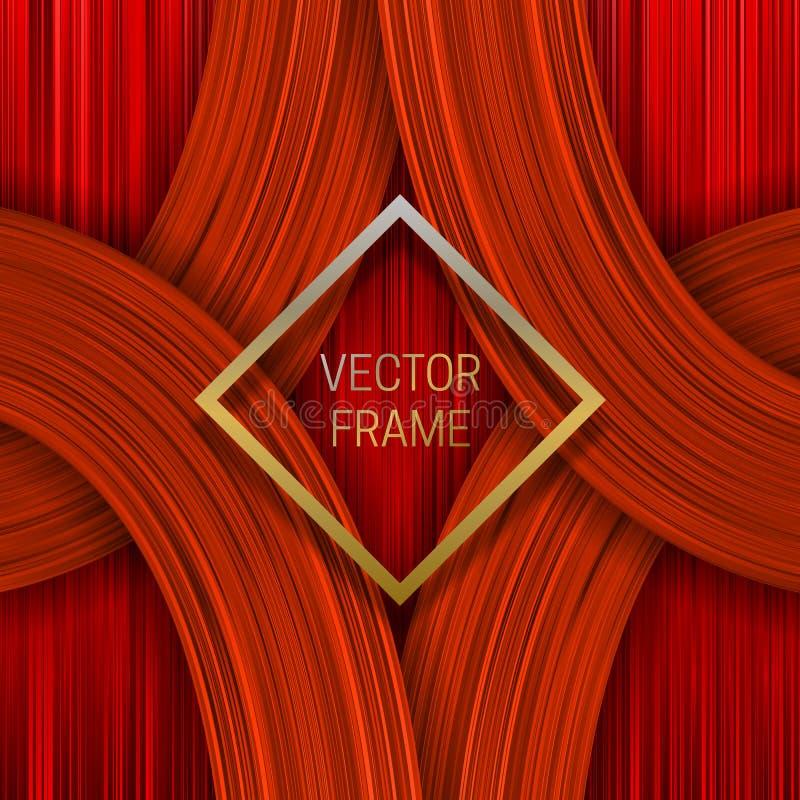 Cadre d'or sur le fond saturé volumétrique aux nuances oranges Conception d'emballage ou calibre de couverture à la mode illustration stock