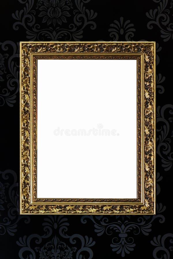 Cadre d'or sur le papier peint de vintage photos stock