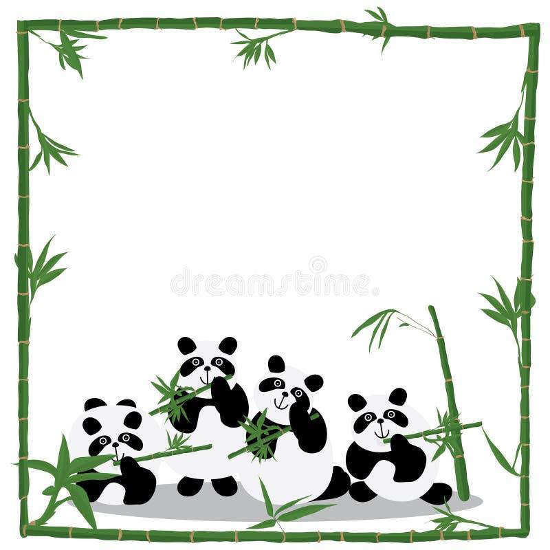 Cadre de bambou d'amour de panda illustration libre de droits