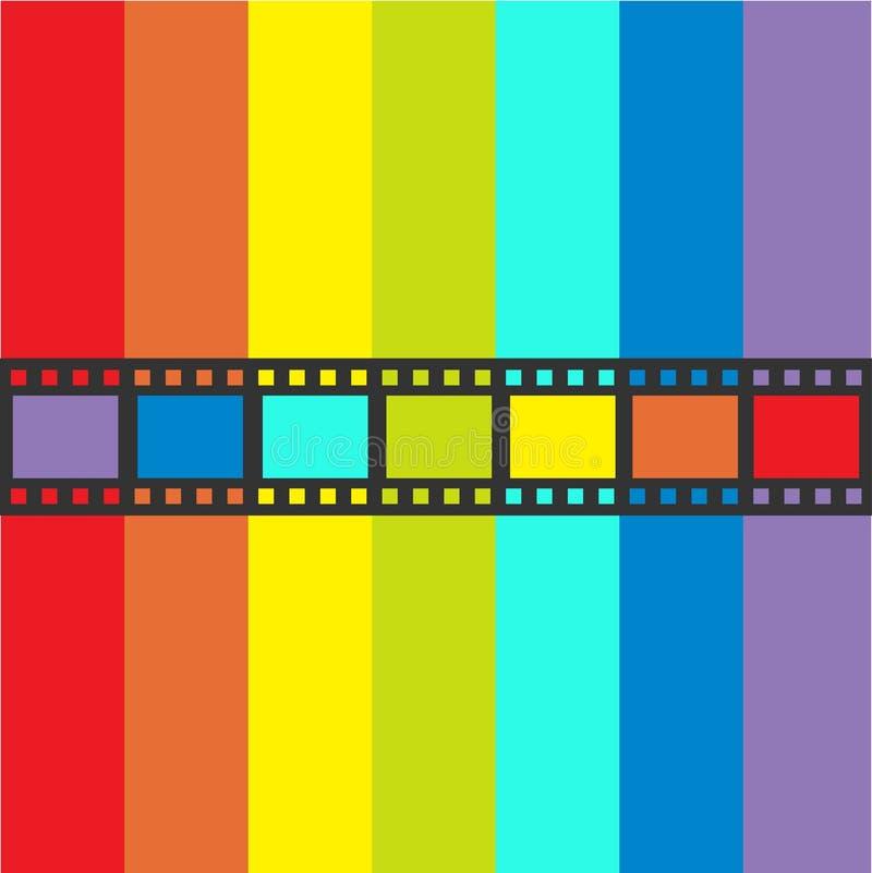 Cadre de bande de film de drapeau d'arc-en-ciel Ruban droit de forme Élément de conception Fond blanc Symbole gai de signe de cin illustration de vecteur