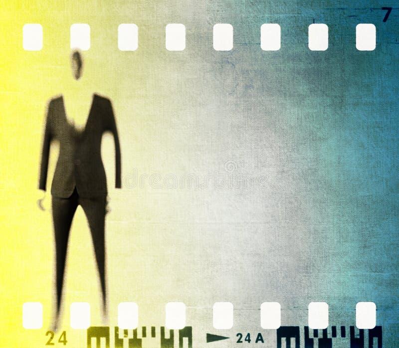 Cadre de bande de film de vintage avec le chiffre masculin stylisé photos stock