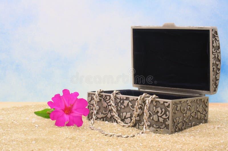 Cadre de bijou sur le sable photographie stock libre de droits