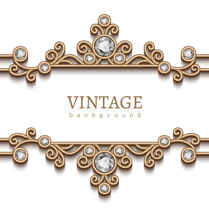 Cadre de bijoux d'or de vintage sur le blanc illustration stock