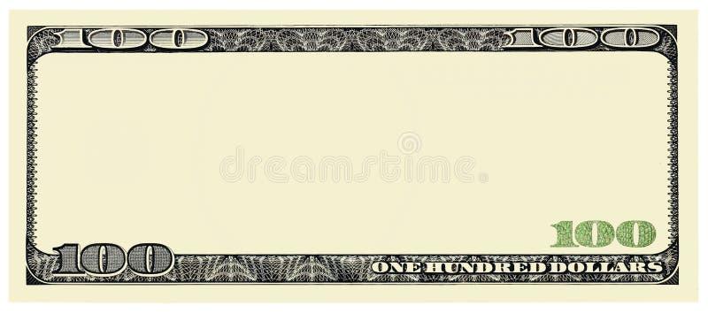 Cadre de Bill Front des 100 dollars pour la conception d'isolement sur le blanc images libres de droits