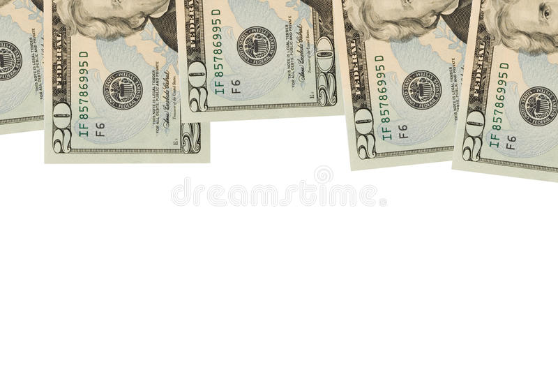 Cadre de billet de vingt dollars images stock