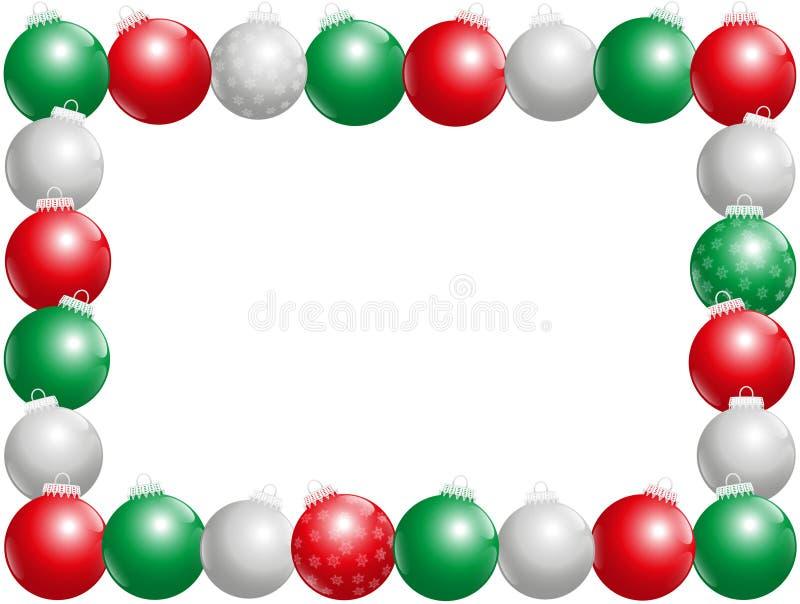 Cadre de boules de Noël horizontal illustration de vecteur