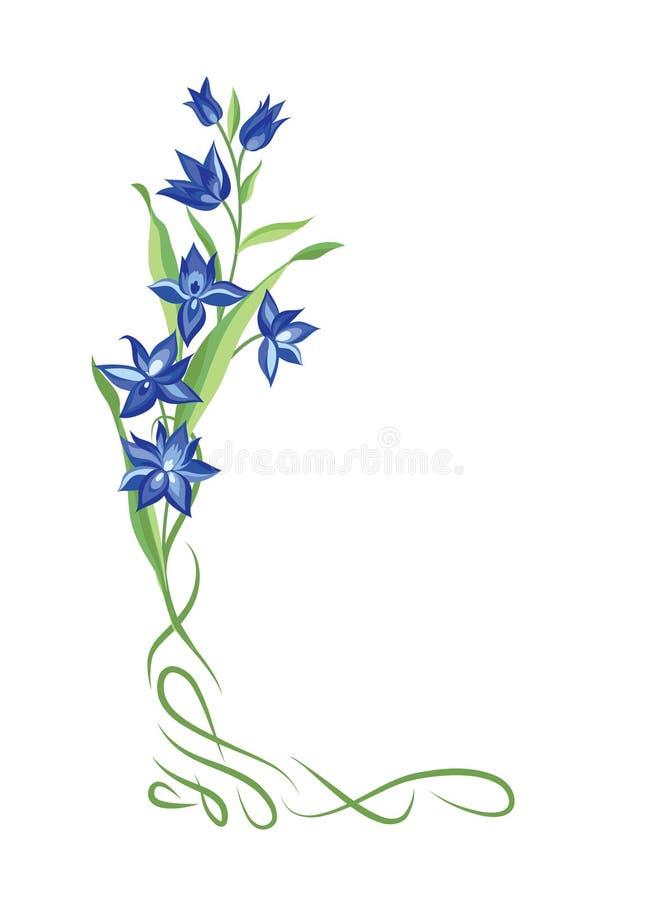 Cadre de bouquet floral Frontière de vignette de remous avec des fleurs décor de nature illustration libre de droits