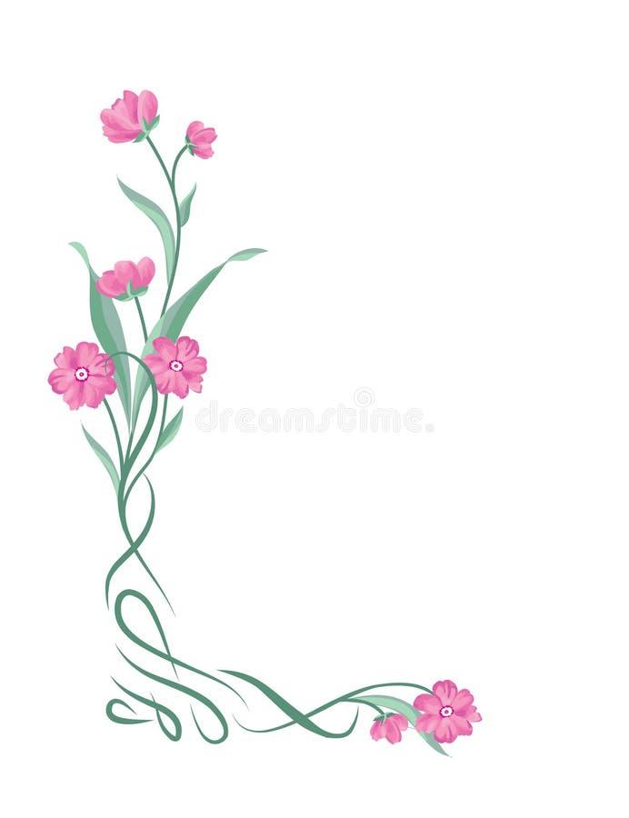 Cadre de bouquet floral Frontière de vignette de remous avec des fleurs nature illustration libre de droits