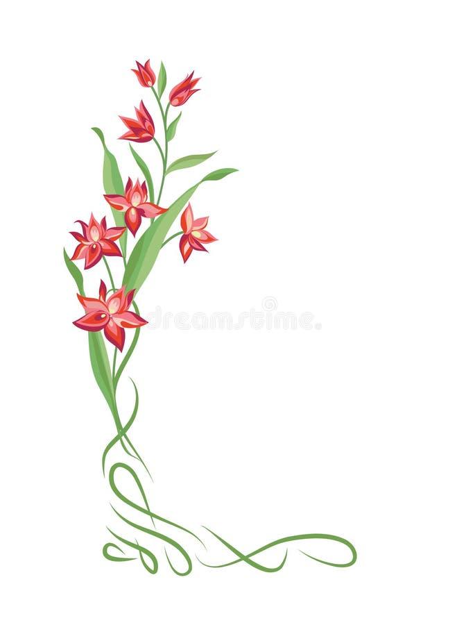 Cadre de bouquet floral Frontière de vignette de remous avec des fleurs nature illustration de vecteur